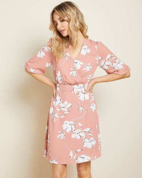 Silky Crepe elbow-length sleeve Fit and Flare dress