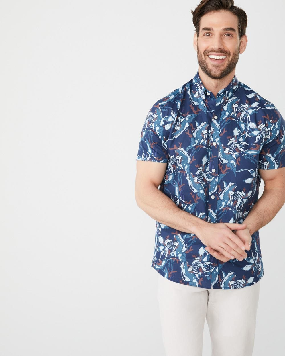 Tailored fit short sleeve Fish print shirt