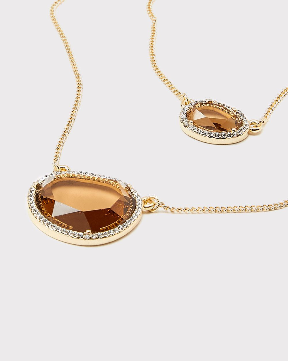 Light topaz double necklace