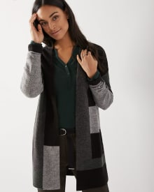 C&G Patchwork open-front cardigan