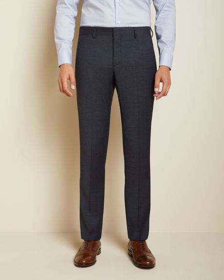 Slim Fit textured navy Traveler suit pant