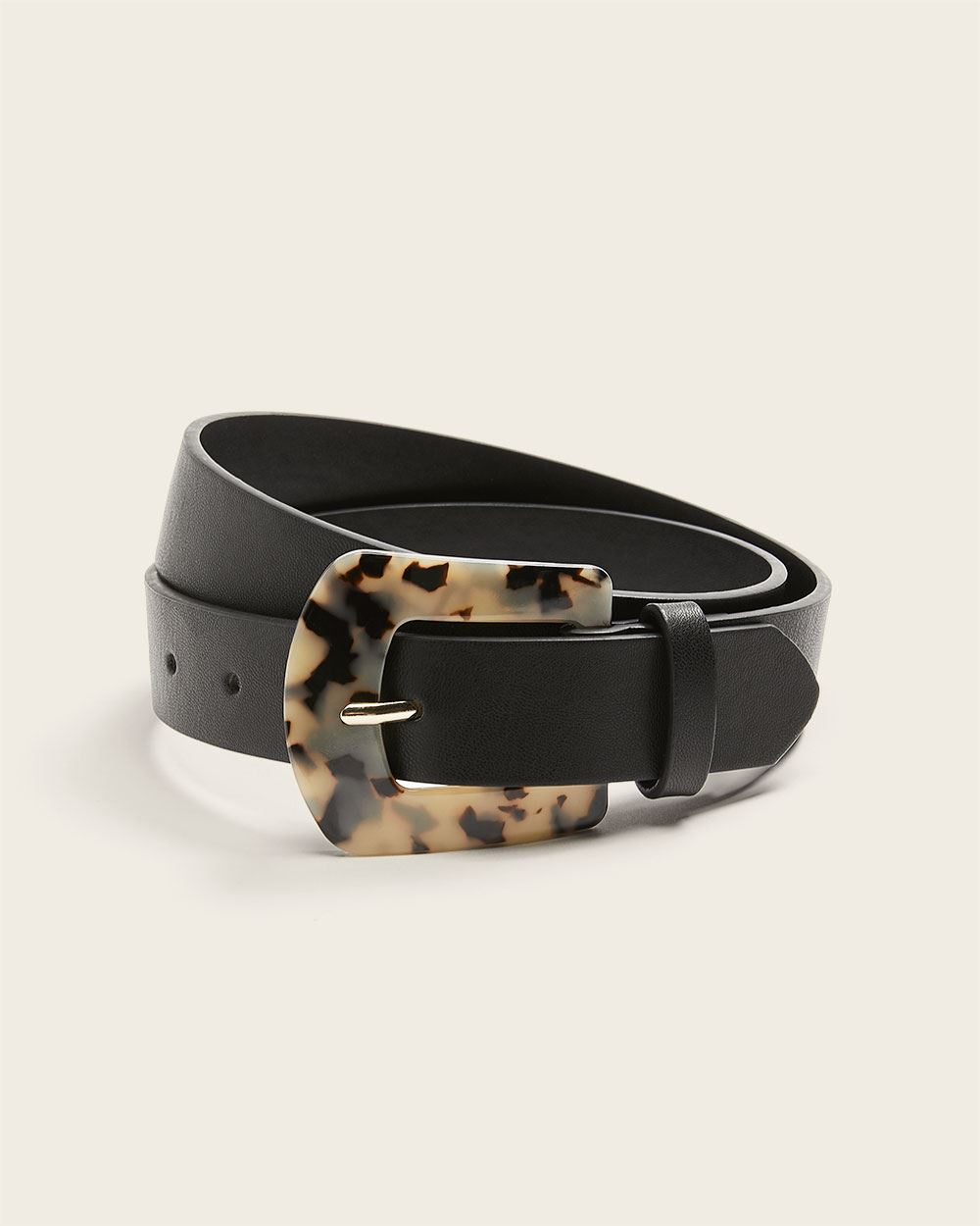 Faux leather belt with tortoise shell buckle