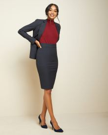 Navy two-tone High-waist pencil skirt