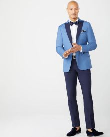 Slim fit blue suit blazer with contrast lapel