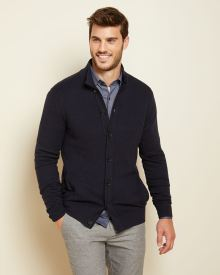 Navy blue Mock-neck cardigan