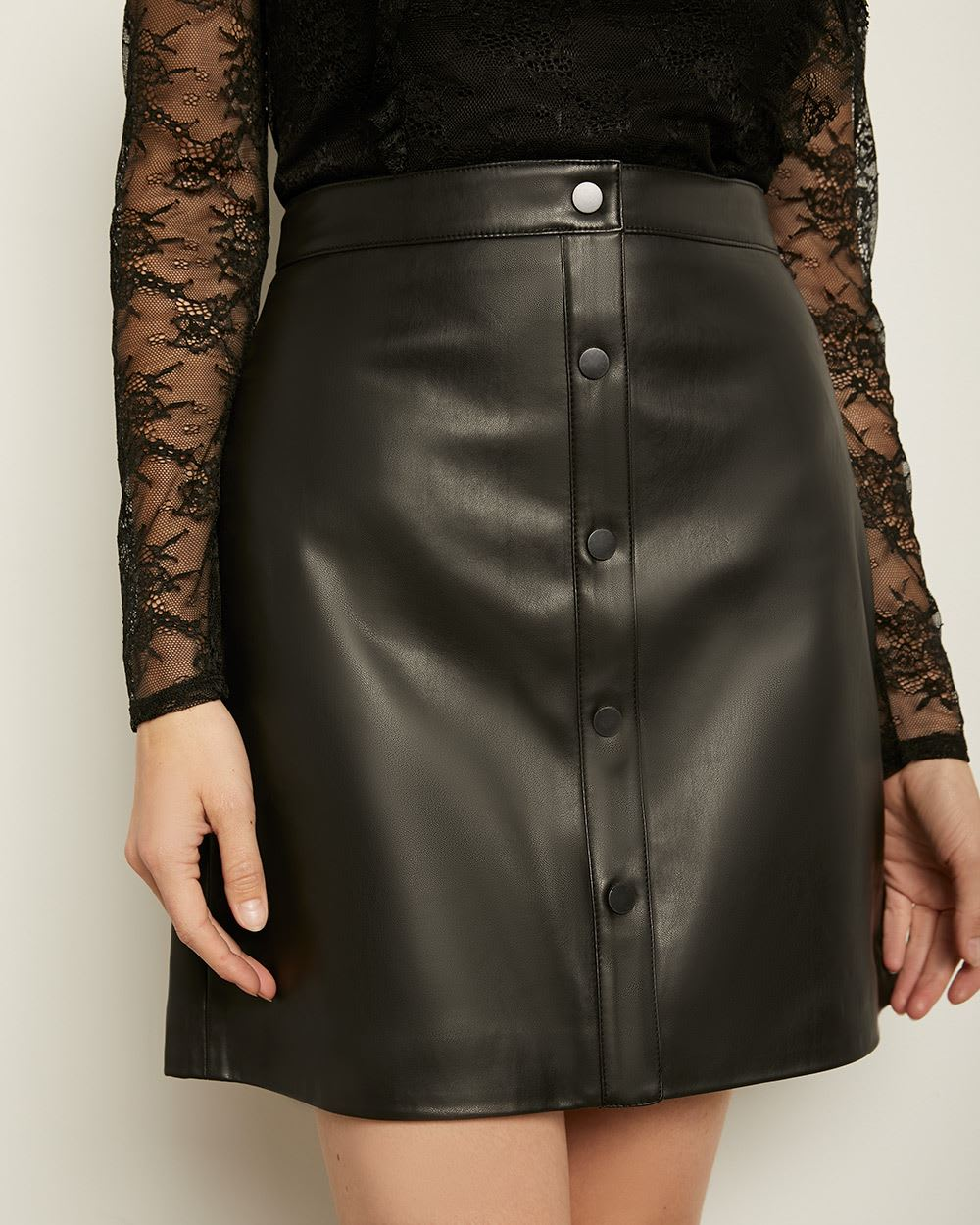 Buttoned-Down High-Waist Faux Leather Skirt