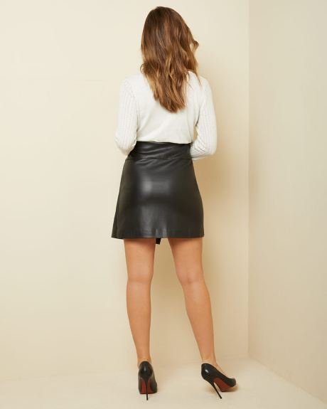 High-waist Faux leather wrap-like skirt