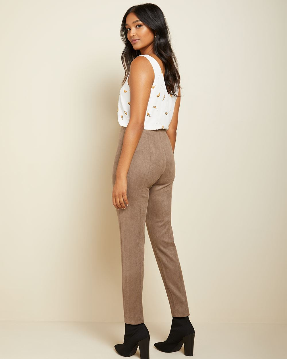 High-waist faux suede legging pant