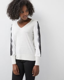 Mixed Media sweater with lace-trimmed sleeves 7abc229c5