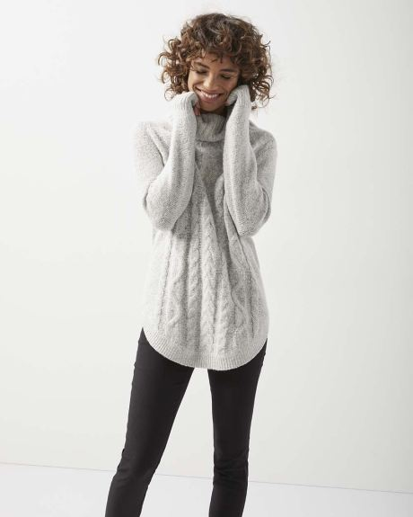 C&G Cowl-neck cable tunic sweater