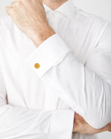 Tailored Fit white jacquard Dress Shirt with french cuff
