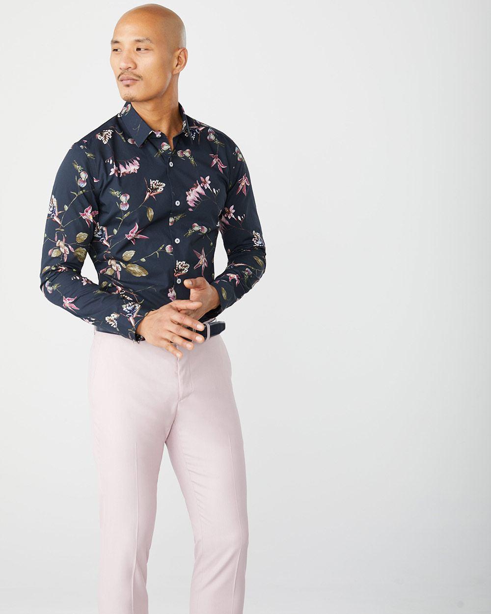 4714d1debaa46 Slim Fit navy floral dress shirt