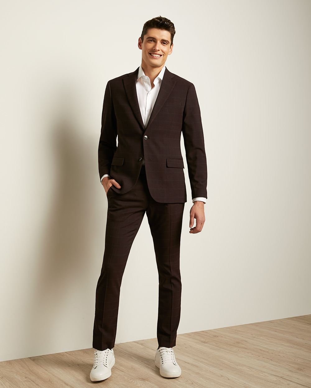 Slim Fit Port Check Suit Blazer
