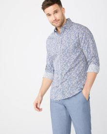 Tailored fit Dark blue foliage shirt