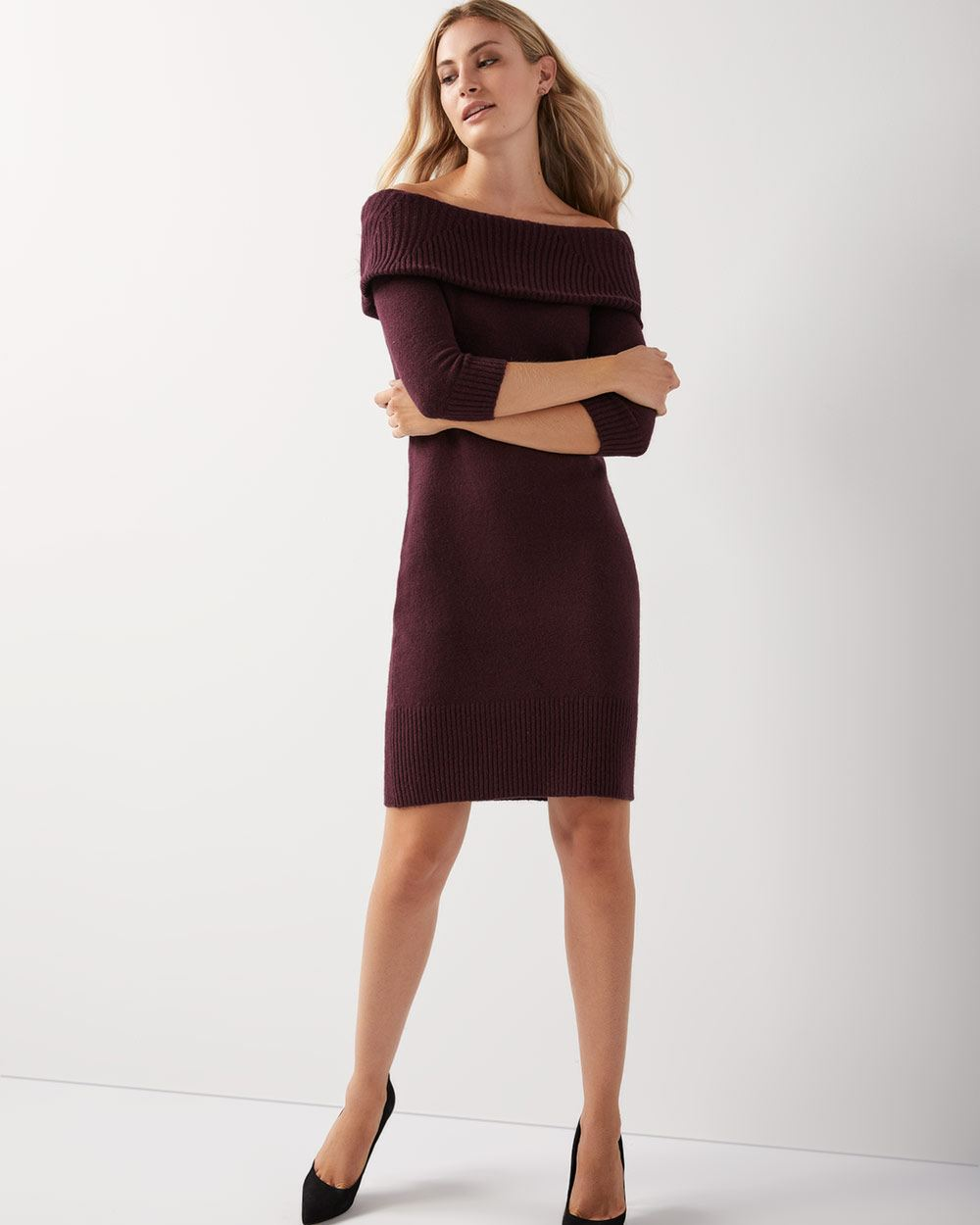 ca7525ee167 Off-the-shoulder sweater dress