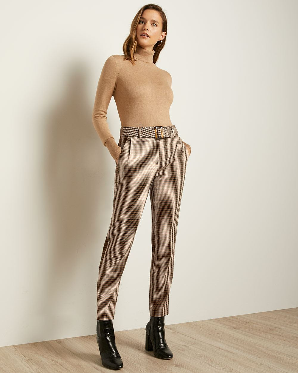Multicolour Houndstooth Belted High-Waist Tapered Pant