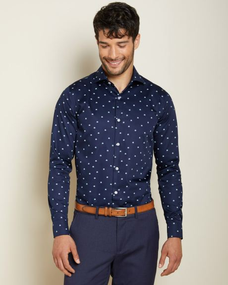 Athletic Fit white print navy dress shirt