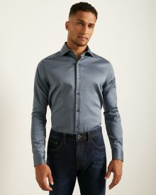 Tailored Fit Blue Dobby Dress Shirt