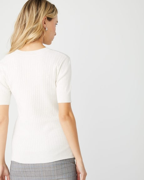 Elbow sleeve V-neck ribbed sweater