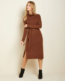 belted buttoned-neck Sweater Dress