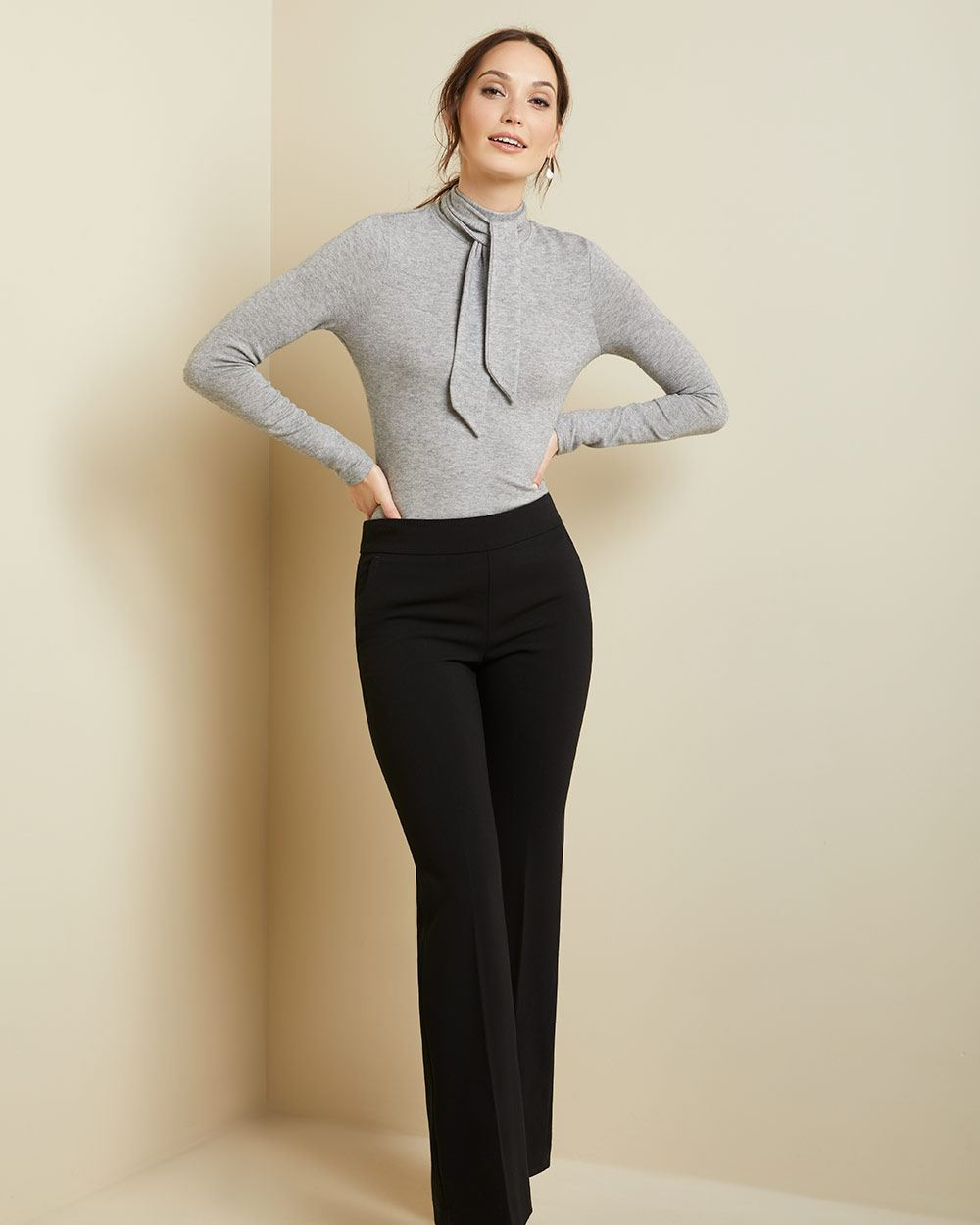 Long sleeve Brushed knit tie-neck top