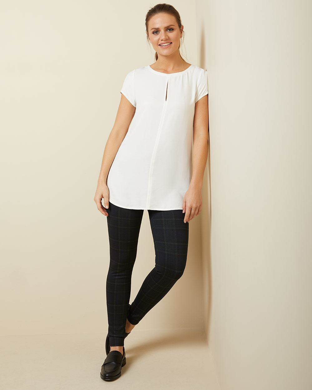C&G Textured Mixed media keyhole tunic t-shirt