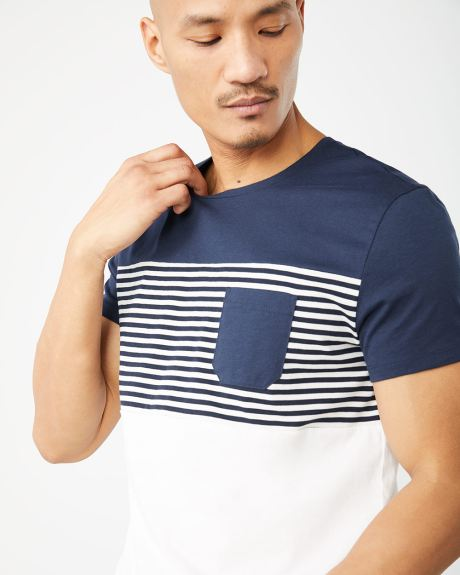 Colour block and stripe crew-neck t-shirt