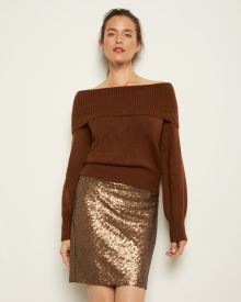 Allover Sequin High-Waist Mini Skirt