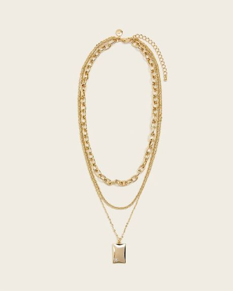 Layered chain link necklace with square pendant