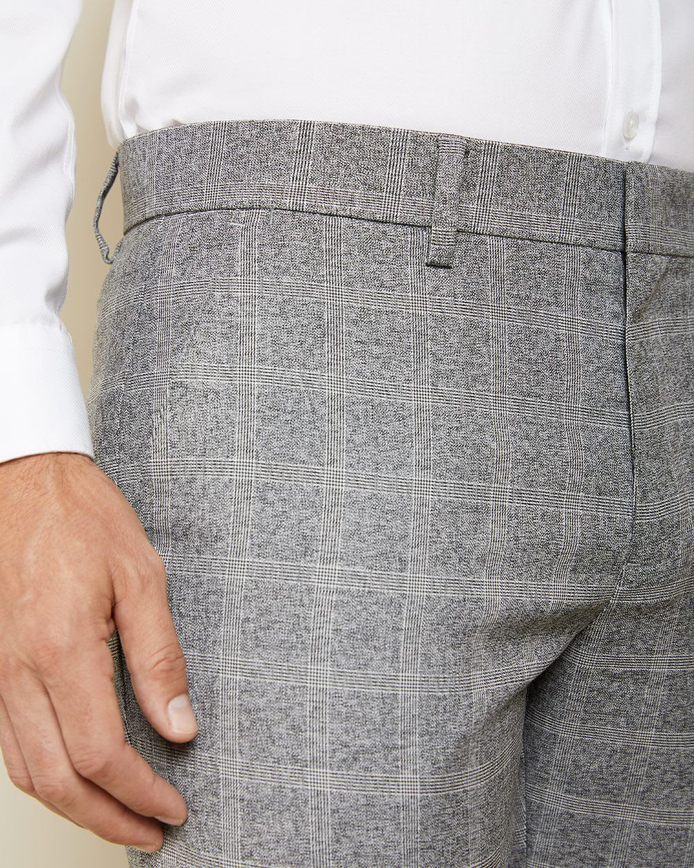 Tailored fit heather grey Check City Pant