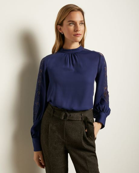 Lace-Trimmed Puffy Sleeve Blouse