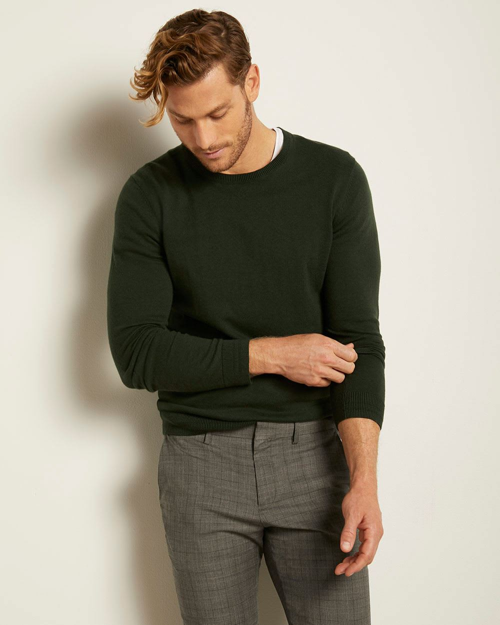 Rib-trimmed Crew-neck Sweater