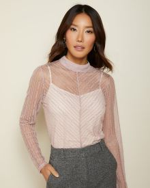 Fitted striped lace mock-neck top