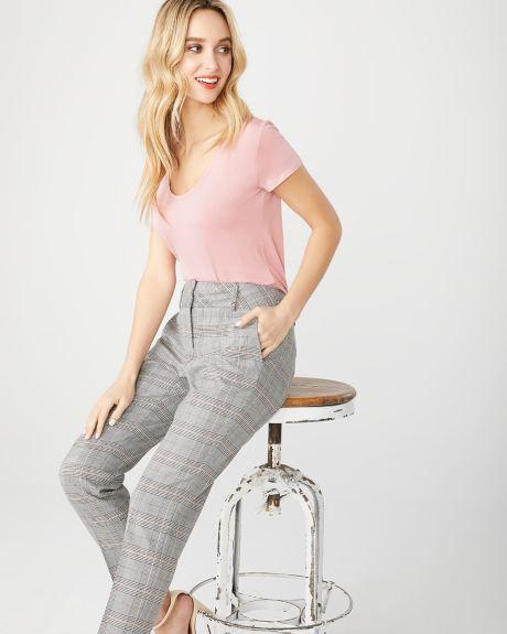 Stretch Camel check Curvy fit Slim Leg Ankle Pant