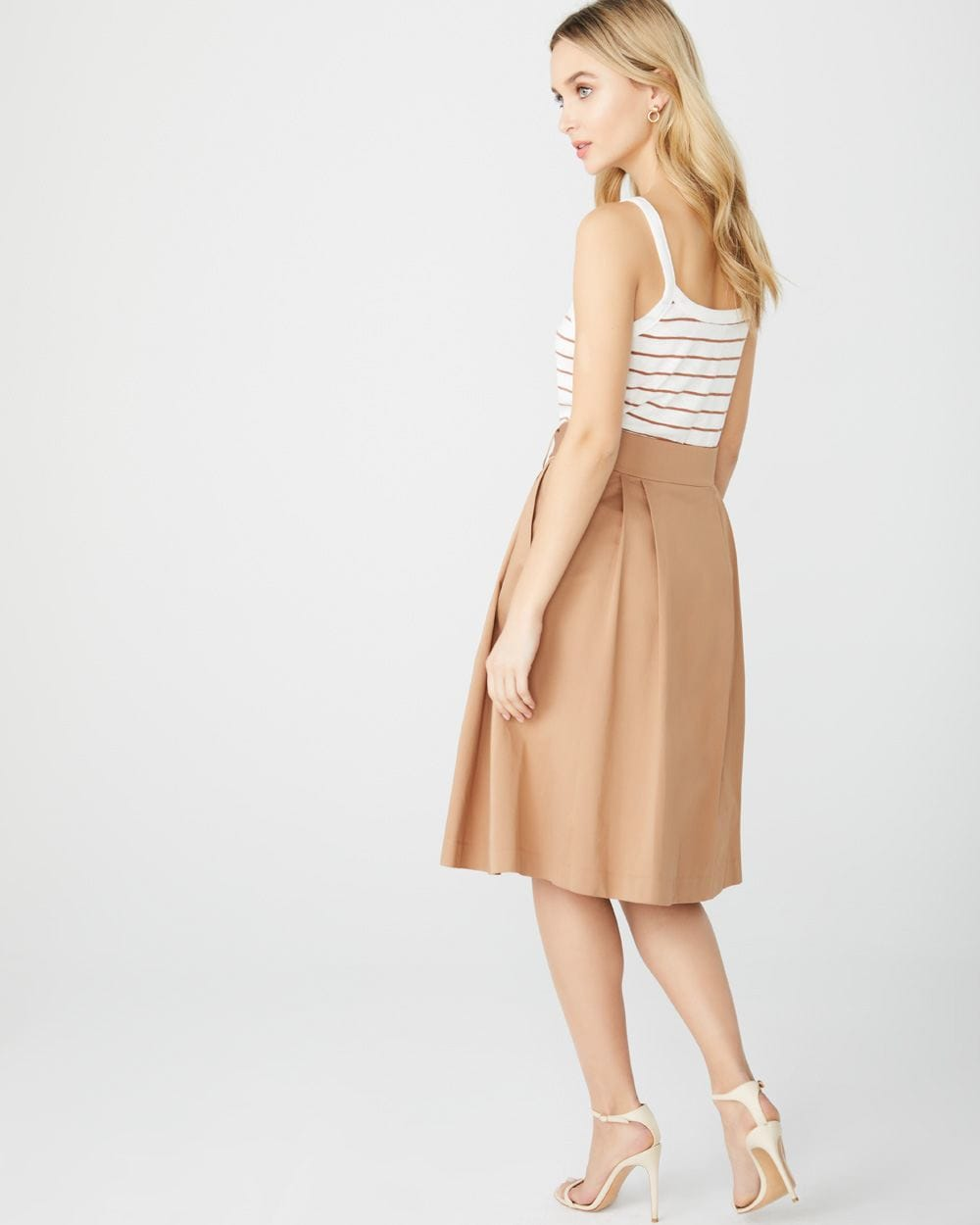 Pleated button-front midi skirt