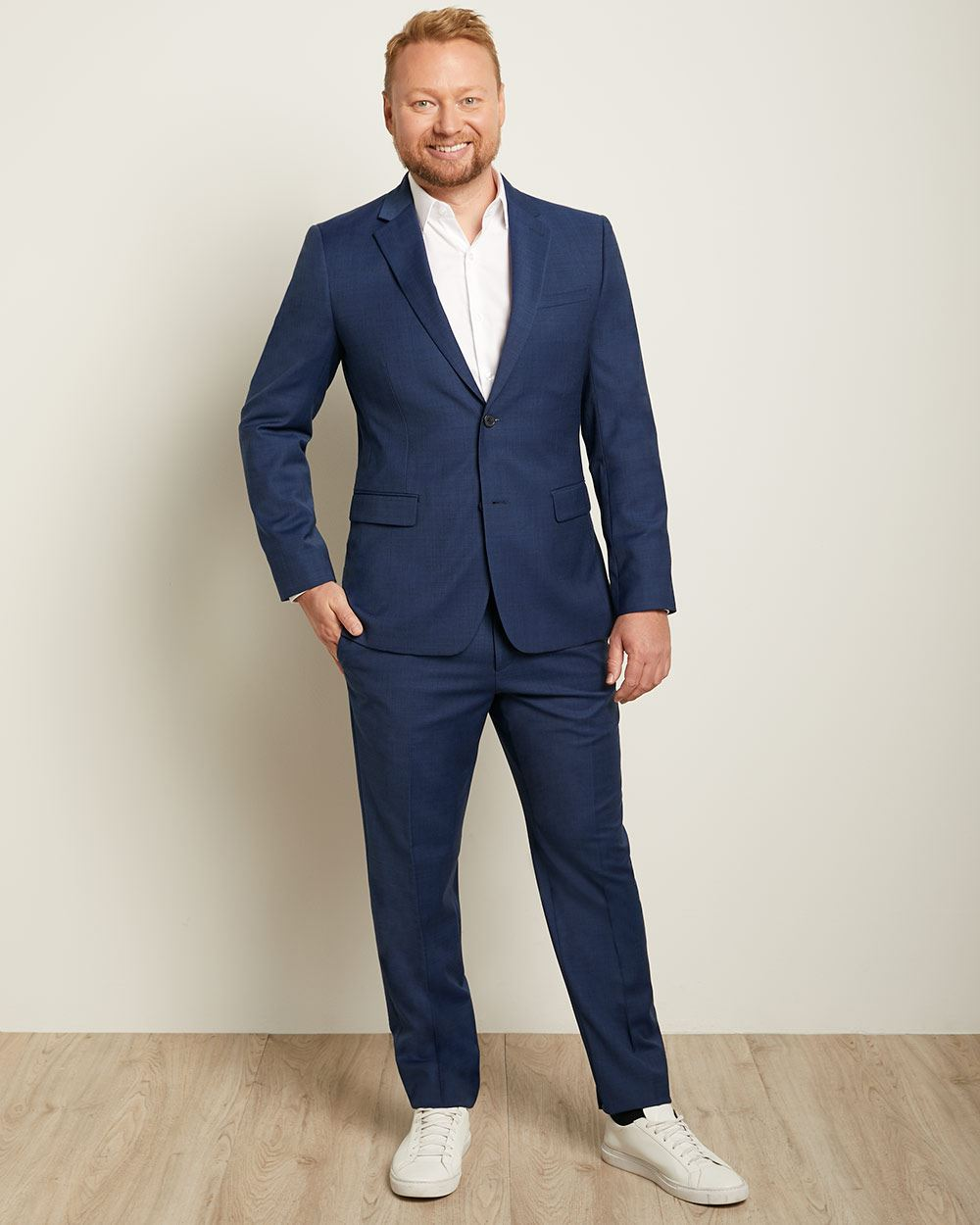 Essential Blue Wool-Blend Suit Blazer - Tall