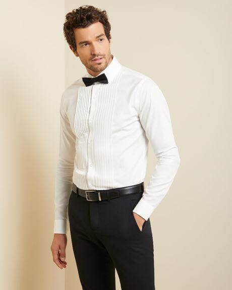 Slim fit pleated front dress shirt