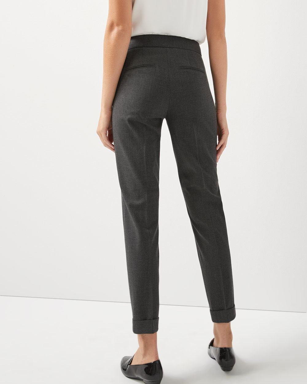 Heather grey Stretch Curvy fit Slim leg cuffed Ankle Pant