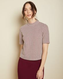 Houndstooth short sleeve mock-neck top