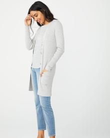 Long button-down nep cardigan