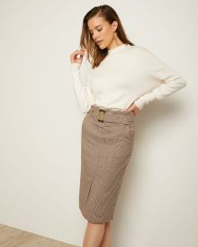 Belted High-Waist Multicoloured Houndstooth Skirt