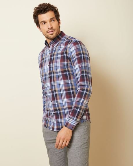 Tailored fit Blue and Burgundy check shirt