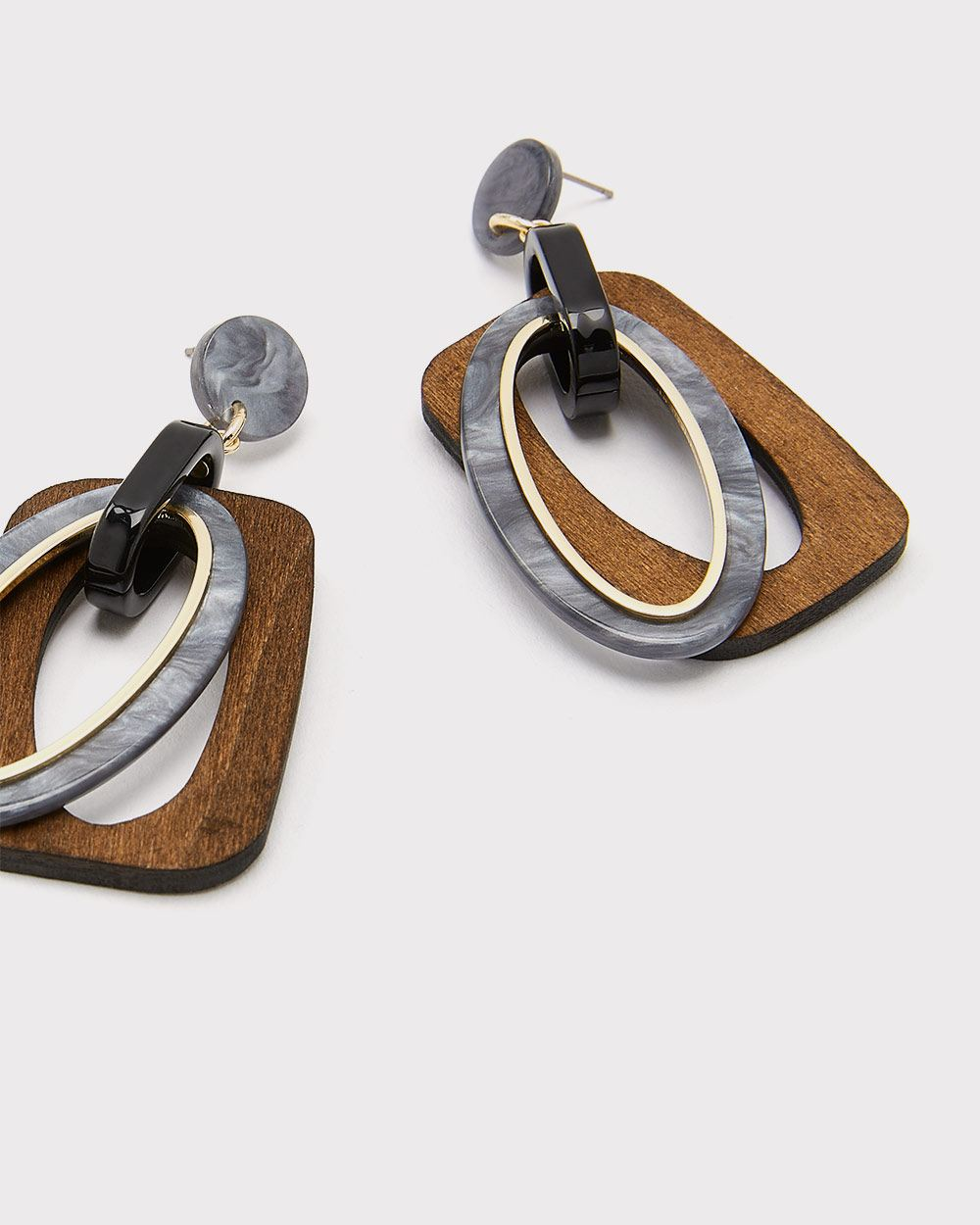 Square wood statement earrings