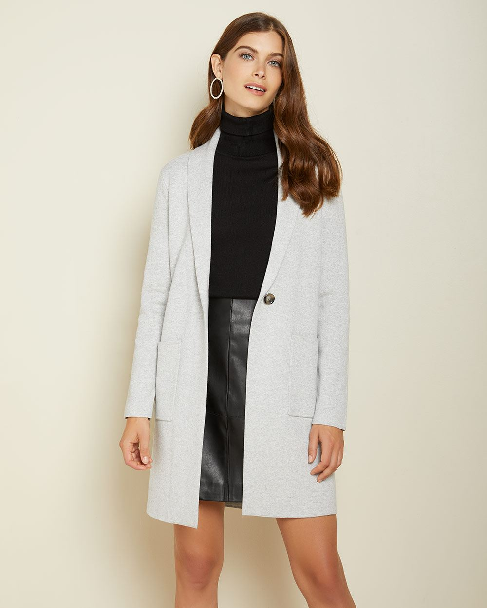 Shawl collar sweater coat