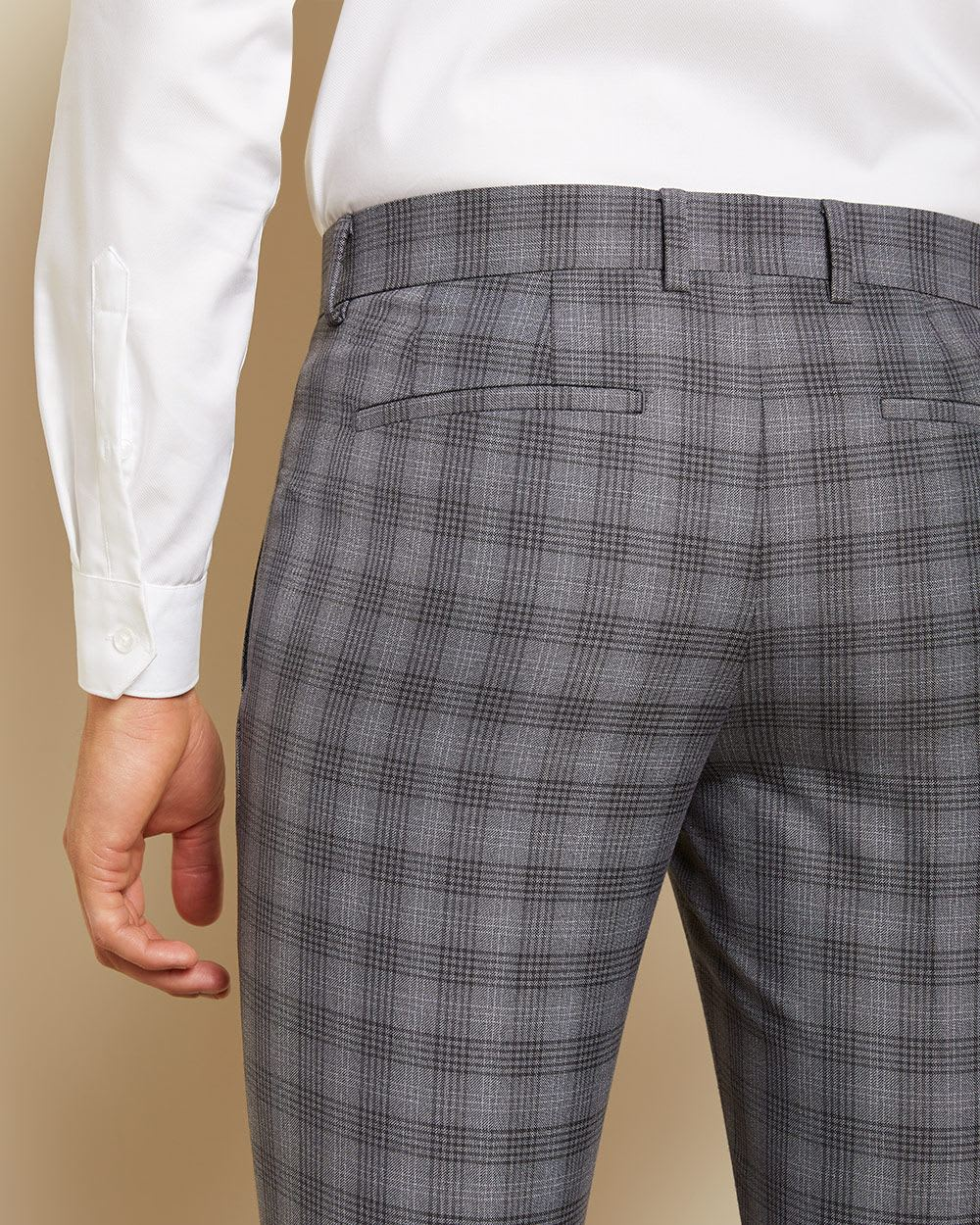 Slim fit checkered Grey suit pant