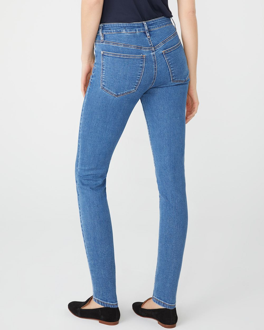 Mid-rise Sculpting skinny jeans in medium wash