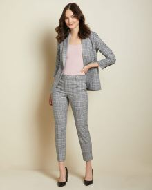 Textured plaid Slim Leg Ankle Pant