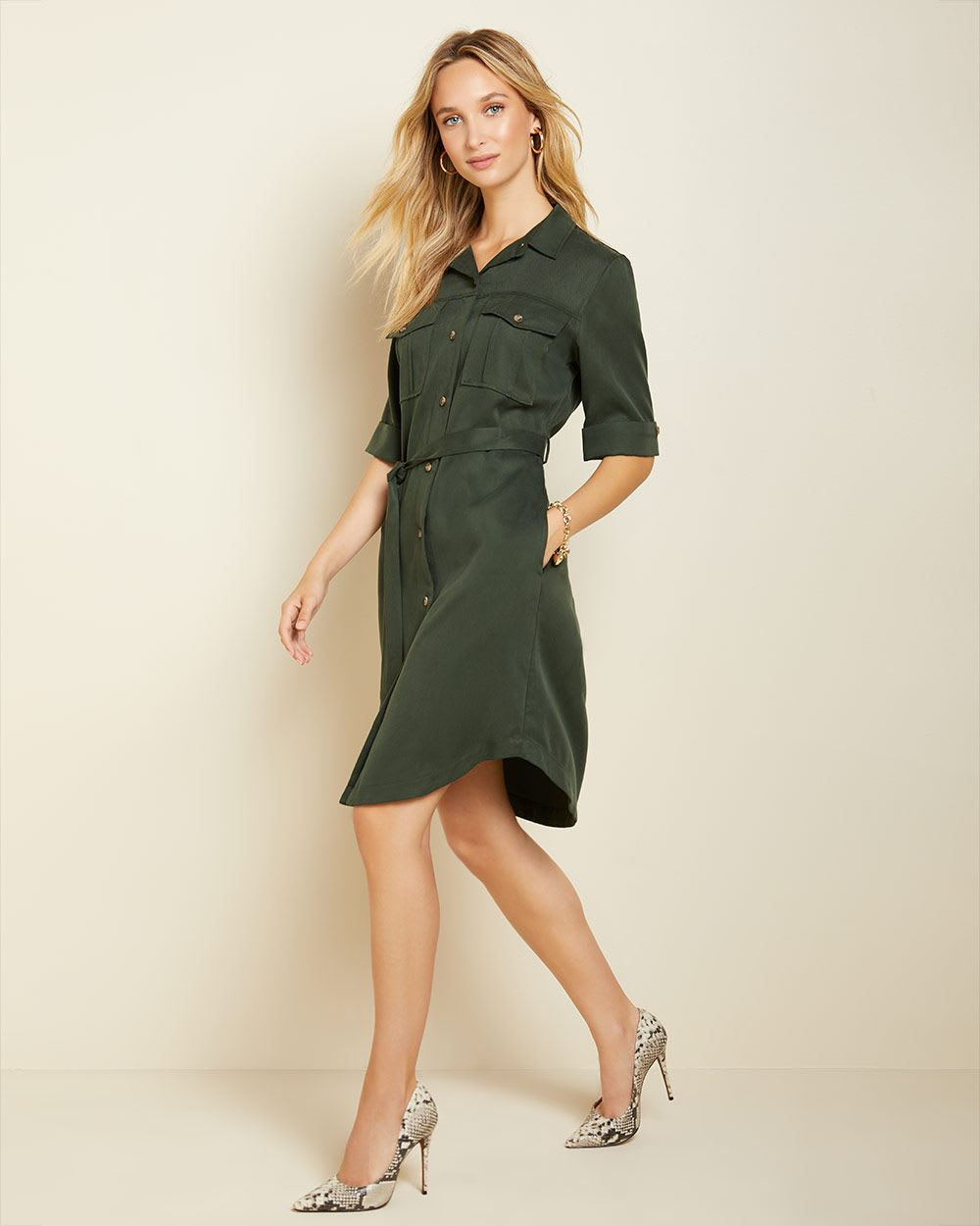 Long sleeve utilitarian belted shirtdress