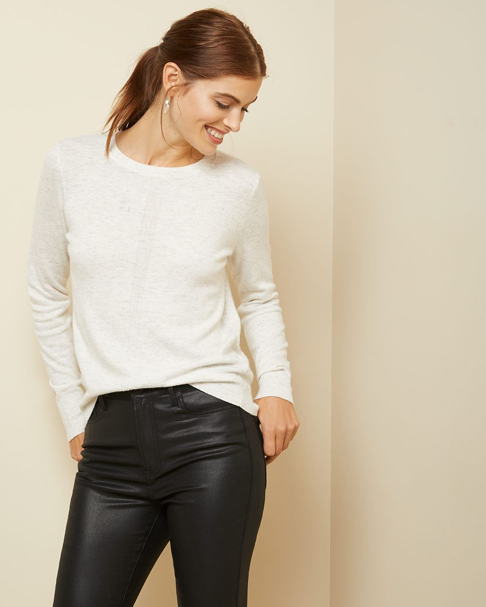 Cashmere-like crew-neck Sweater with pointelle