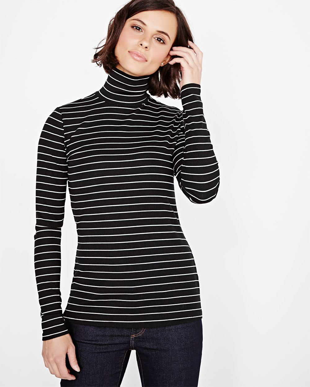 Striped turtleneck t shirt rw co for Turtleneck under t shirt
